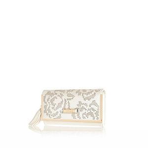 White laser cut tassel purse
