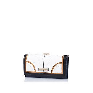 Blue block colour clip top purse