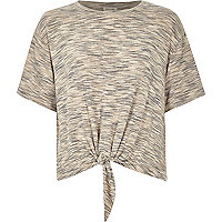 Natural marl patterned knot front t-shirt