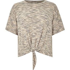 Natural marl patterned knot front t-shirt