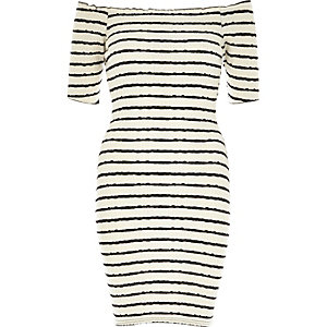 Cream and navy stripe 3/4 sleeve bardot dress