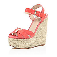 Orange suede high wedges