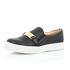 Black gold front slip on plimsolls