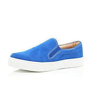 Blue perforated slip on plimsolls