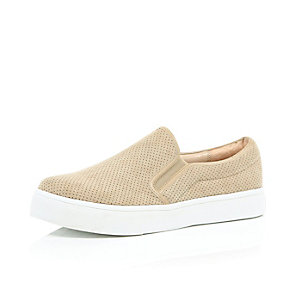 Beige perforated slip on plimsolls