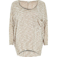 Beige oversized pocket long sleeve t-shirt