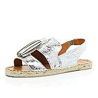 Silver tassel espadrille sandals
