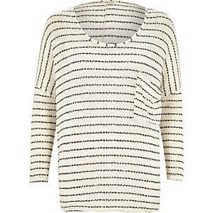 Cream stripe oversized drop sleeve t-shirt
