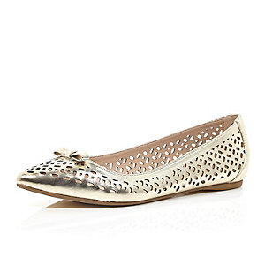 Gold laser cut ballerina pumps