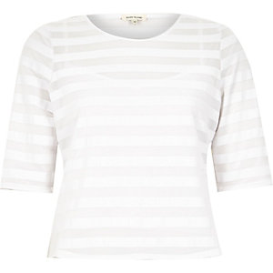 White mesh stripe fitted t-shirt
