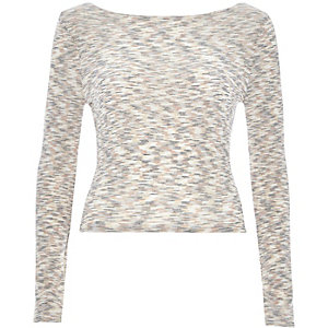 Beige space dye scoop neck top