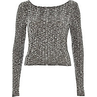 Grey chunky ribbed scoop neck top