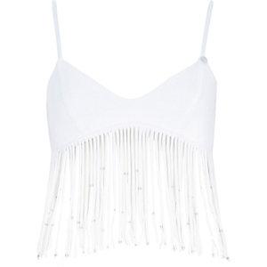 White Pacha fringed padded bikini top