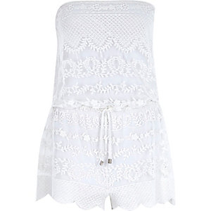 White embroidered sleeveless playsuit