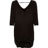 Black 3/4 sleeves drape front top
