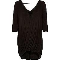 Black 3/4 sleeves drape front top