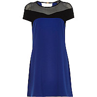 Blue mesh textured crepe swing dress