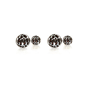 Brown leopard print front and back earrings