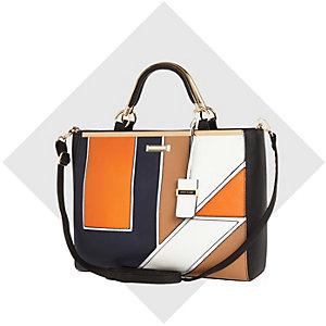 Navy geo print tote handbag