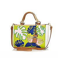 Green palm tree leaf print tote bag
