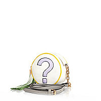 White question mark round bag