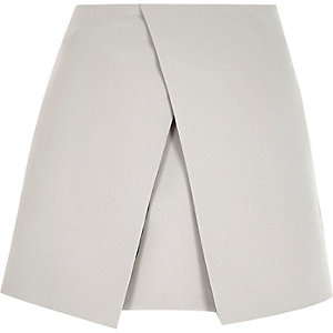 Grey wrap front mini skirt