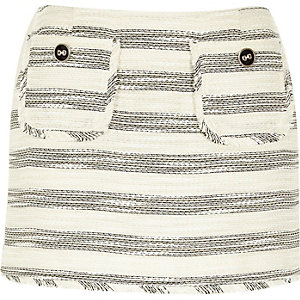 Cream stripe boucle skirt