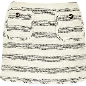 Cream stripe boucle skirt