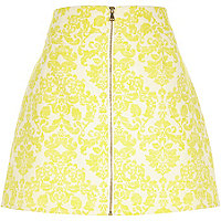 Yellow jacquard zip front skirt