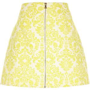 Yellow jacquard zip front skirt