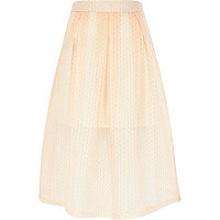 Peach woven textured midi skirt