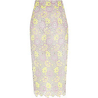 Purple yellow lace pencil skirt