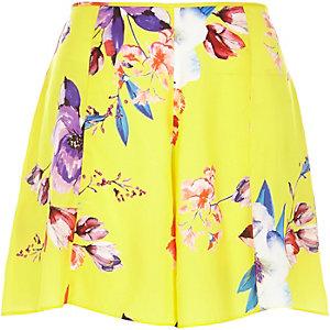Yellow satin floral print shorts
