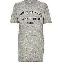 Grey Los Angeles ribbed oversized t-shirt