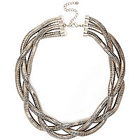 Silver tone chunky twisted necklace