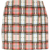 Pink tartan check mini skirt