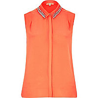 Coral sleeveless embellished collar shirt