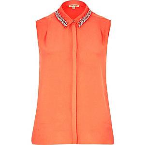 Coral sleeveless embellished collar shirt