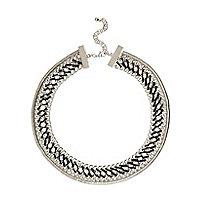 Silver tone woven chain necklace