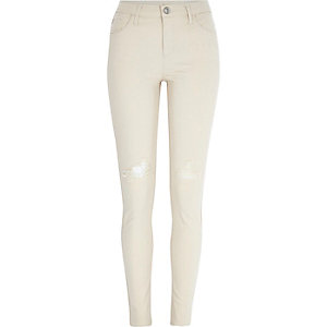 Ecru ripped Amelie superskinny jeans
