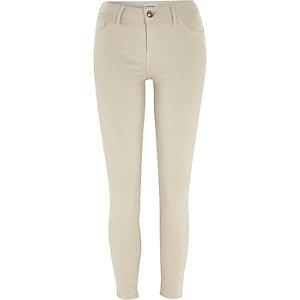 Ecru zip hem Amelie superskinny jeans