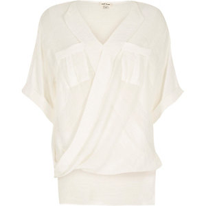 White wrap front pocket blouse