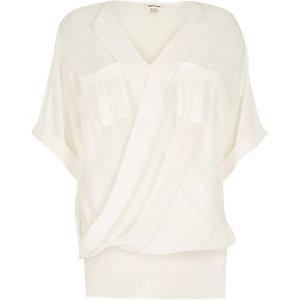 White wrap front pocket blouse