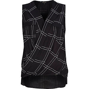 Black check sleeveless wrap front blouse