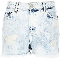 Acid wash high waisted Darcy denim shorts