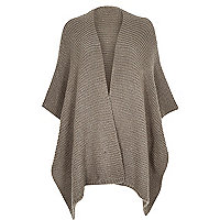 Grey knitted blanket cape