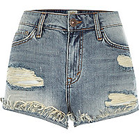 Mid wash distressed Ruby denim shorts