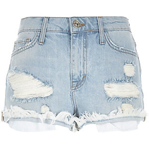 Light wash distressed Ruby denim shorts