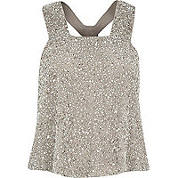 Grey mesh embellished tank top