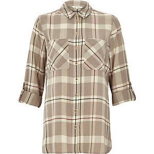 Beige check casual shirt